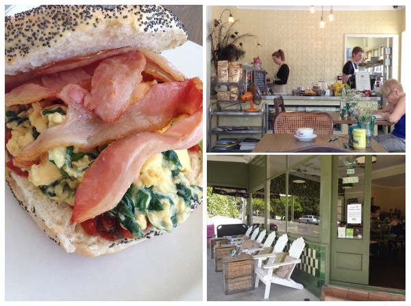 green eggs scrambled egg with spinach on a bagel; interior and exterior of bungalow 4171 cafe