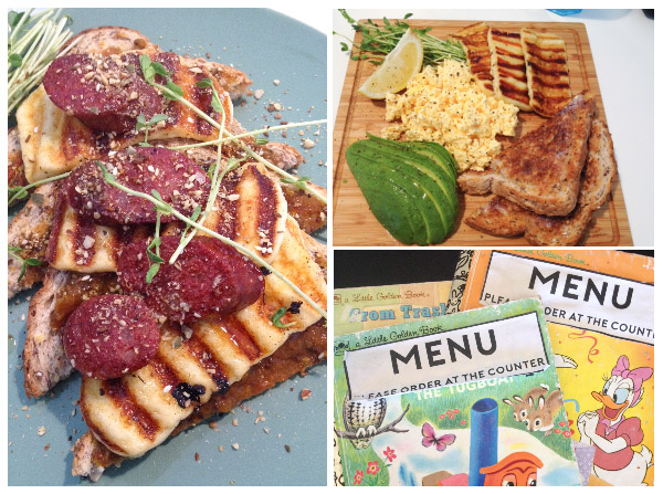 Chorizo & Haloumi on toast ; scarmbled eggs & haloumi with avocado; Little Golden Books made into menus