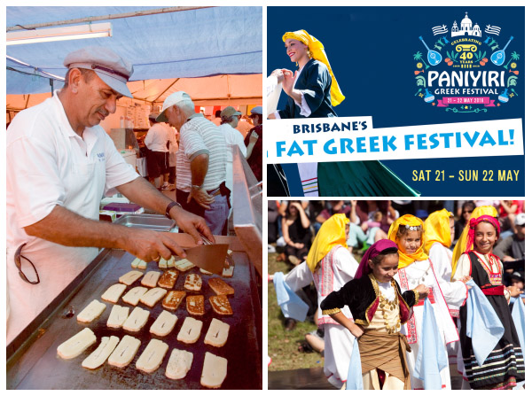 Three scenes from Brisbane's Paniyiri festival including haloumi cheese cooking on the grill and local children dancing in traditional Greek costumes