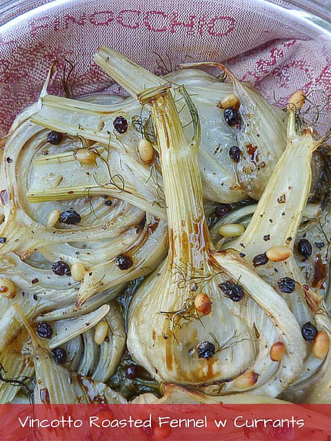 Slices of roasted fennel bulb, currants and pine nuts baked in a pie dish