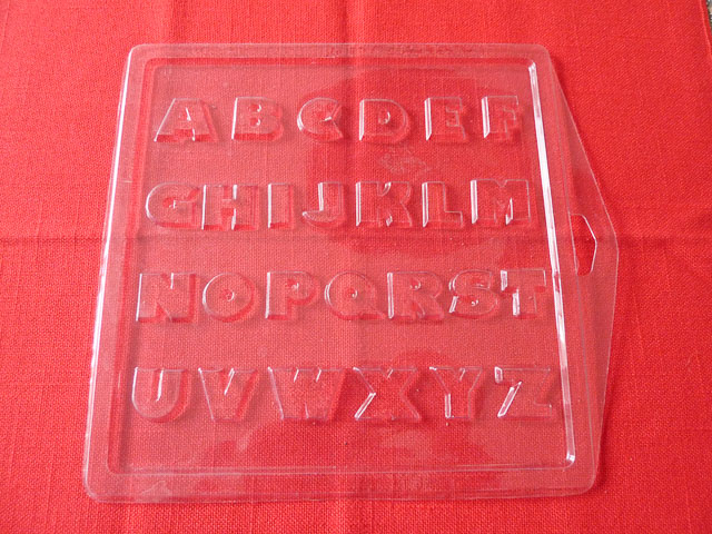Plastic alphabet chocolate mould