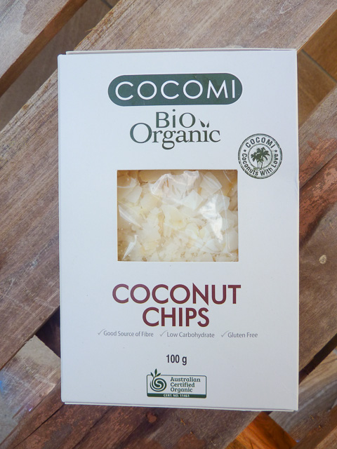 box of organic coconut chips for baking and decoration
