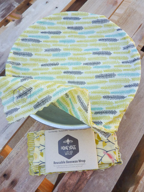 Reusable beeswax coated fabric wraps to cover bowls and food
