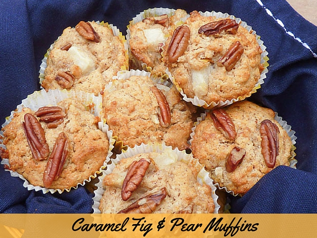 a basket of caramel fig & pear muffins topped with pieces of pecan nut