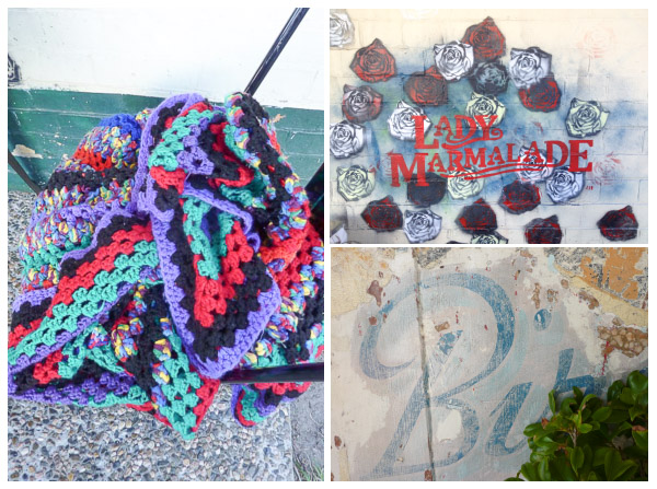 crochet rug, spray painted cafe sign, partial sign from old pet hospital