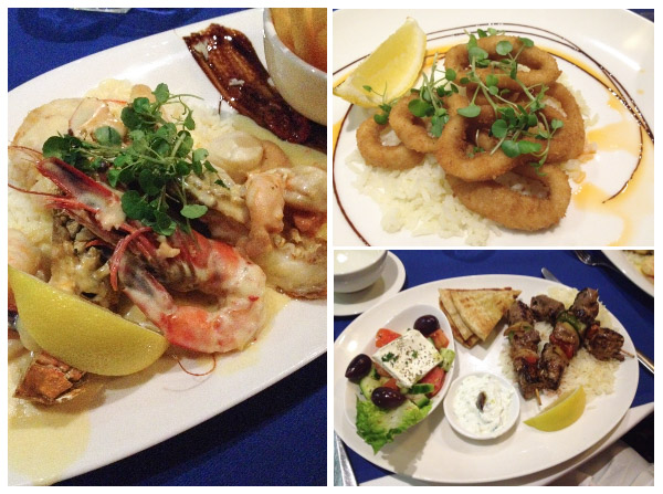 Trio of seafood and lamb dishes as served by George's Paragon in Brisbane