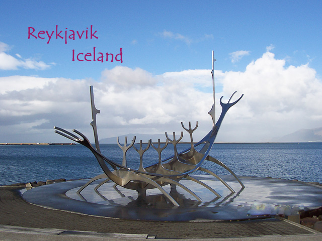 Stainless steel sculpture on the waterfront in Reykjavik, Iceland called the Solfar or Sun Voyager. Shaped like a Viking ship.
