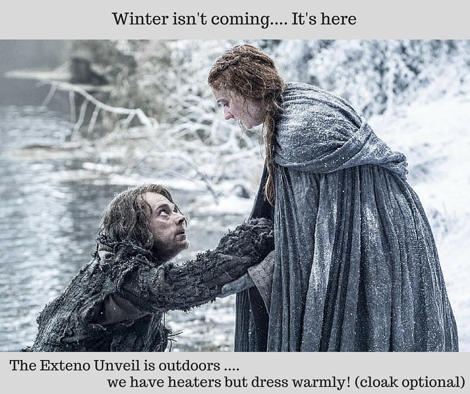 Winter is Here meme telling guest to dress warmly for a party