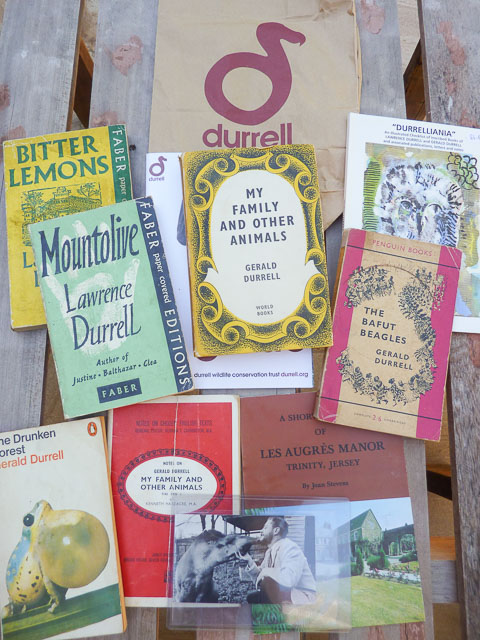 various books and ephemera from the wrietrs Gerald and Lawrence Durrell