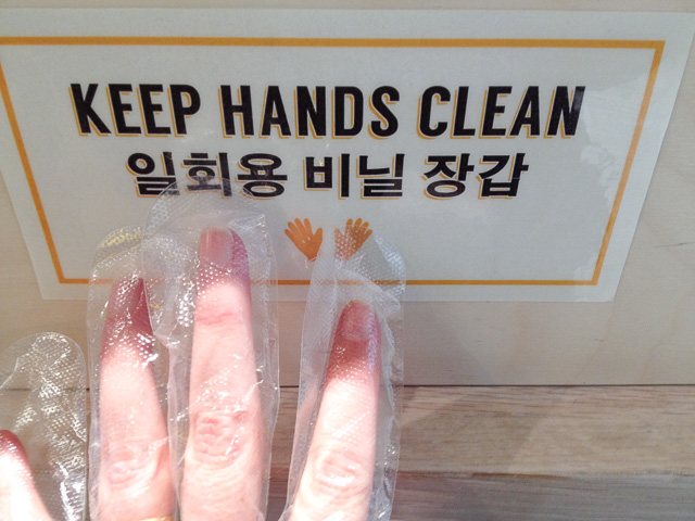 plastic gloves at NeNe chicken