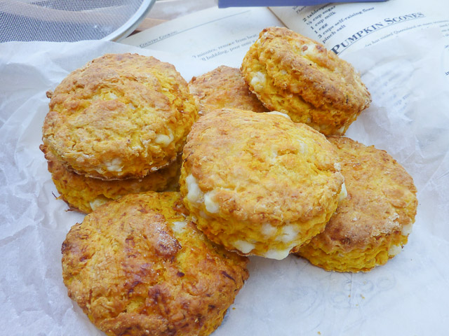 Pumpkin & Feta Scones with Recipe in the background