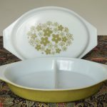 From an op shop at Bargara: divided Pyrex serving dish with Spring Blossom pattern