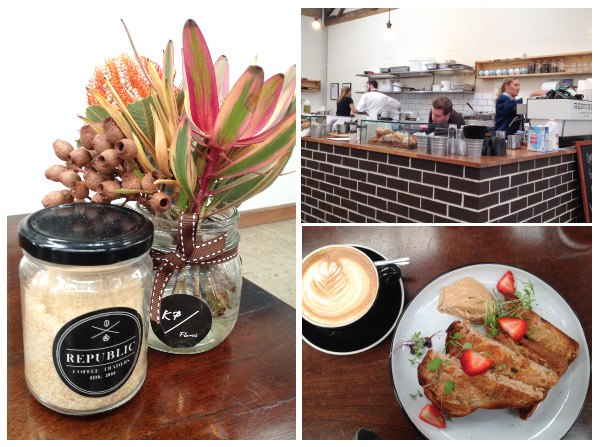 Scenes from Republic Coffee Traders including counter; toast; sugar jar with flowers
