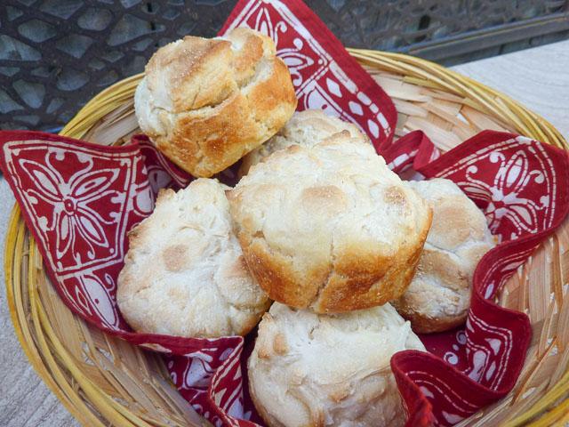 basket of sourdough bread rolls