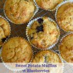 several sweet potato muffins cooling on a rack