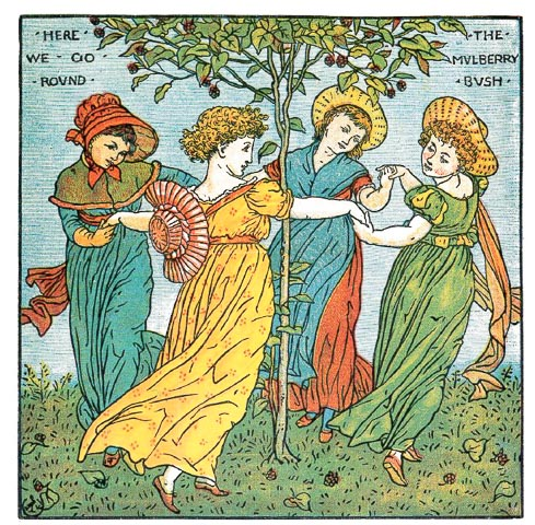 vintage line drawing of women in Georgian era clothing dancing around a mulberry bush