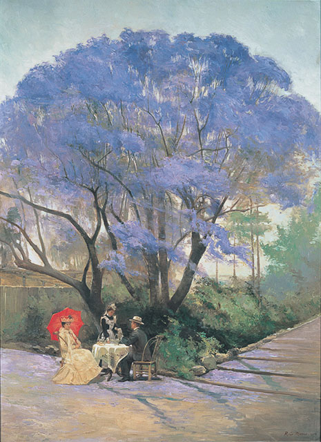 1903 Painting from the QAGOMA collection of a couple taking tea under a tree during Brisbane Jacaranda Season