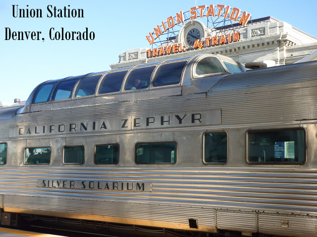 the california zephyr train parked in front of union station in Denver, Colorado