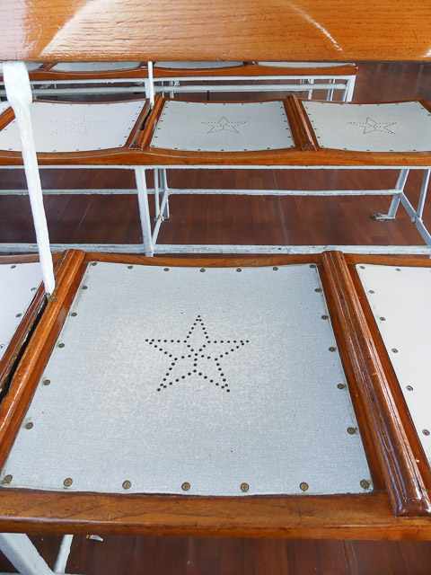 Seats punched with stars on the Star Ferry, Hong Kong