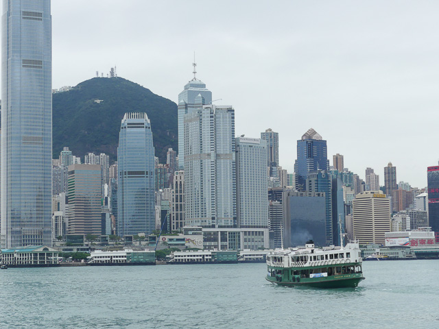 View towards Victoria Peak, Hong Kong with Star Ferry in the foreground