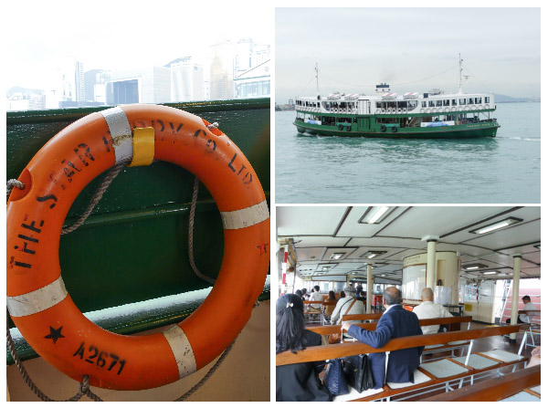 trio of scenes from the Star Ferry, Hong Kong