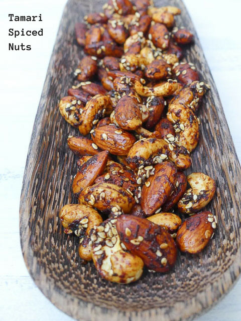 tray of tamari spiced nuts