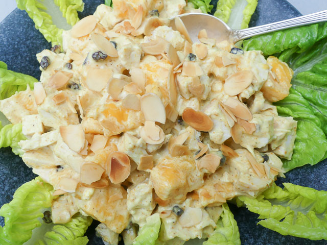 chopped chicken and mango in a curry mayonnaise sauce - Coronation Mango Chicken