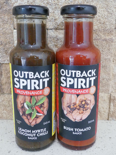 two bottles of sauce using Australian indigenous flavourings