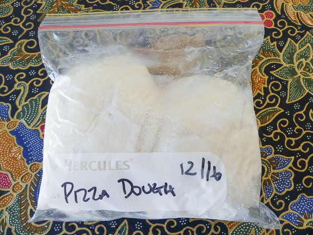 pizza dough balls in a zip lock bag