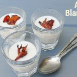 ajo blanco chilled spanish almond soup in cocktail shots with garnish