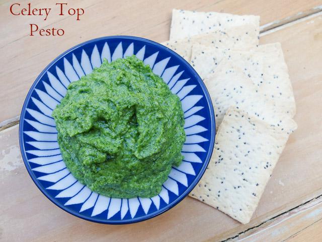 dish of celery top pesto