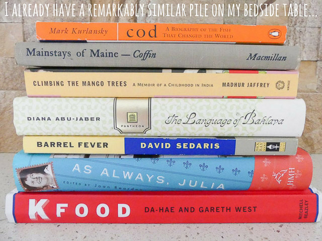 a pile of books with a food theme
