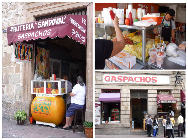 various local shops selling gaspachos morelianos