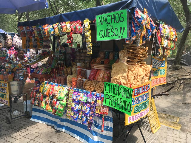 vendor selling snack is Bosque Chapultepec in Mexico City