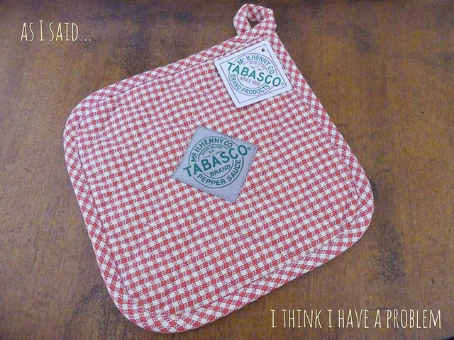 pot holder with tabasco sauce logo