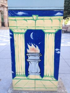 Traffic signal box painted with eternal flame, ANZAC square Brisbane