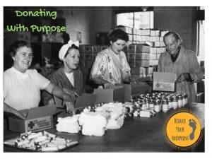 four women volunteers pack parcels for the red cross to be sent to sick and wounded service men and women during world war two