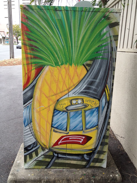 Traffic Signal Box with pineapple, train and rail tracks painted on