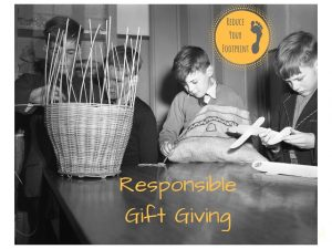 young boys weave baskets as part of responsible gift giving