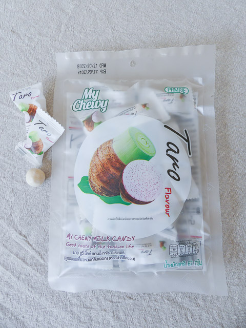 plastic bag of taro lollies