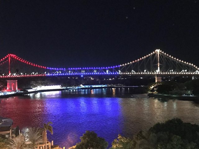 view of the Story Bridge in Brisbane, from otto restaurant