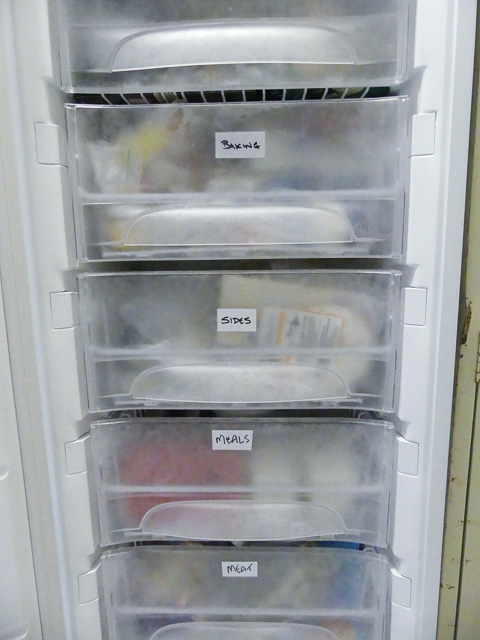 freezer with door open showing labeled freezer draws