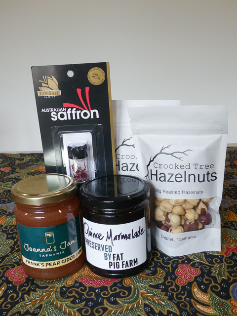 jars and packets of tasmanian products including jams, nuts and saffron