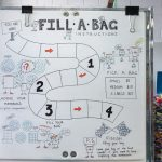 sign on a white board at reverse garbage saying fill a bag
