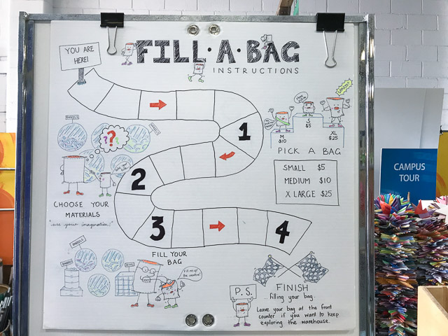 sign on a white board saying fill a bag