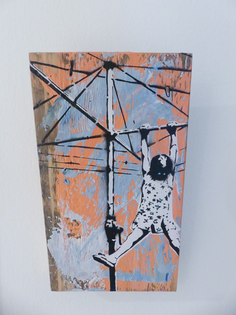 screen print artwork of small child swinging on hills hoist clothes line