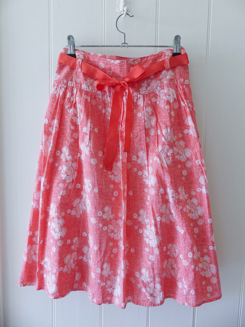 pink and white skirt with pinkl belt purchased from an op shop