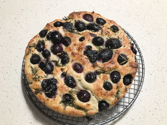 round grape schiacciataa bread baked with grapes and rosemary sprigs pressed in, sitting on a cooling rack