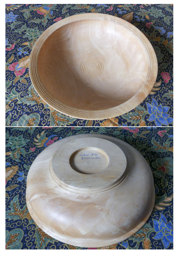 images of a plae wooden bowl carved out of jacaranda wood