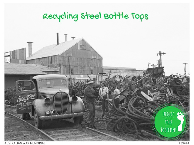 Vintage metal scrap yard image from Australian War Memorial with Recycling Steel Bottle Tops title superimposed